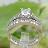 Unisex Engagement Fashion Fashion jewelry CZ Rhodium PLD Princess Cut Bridal Wedding Engagement Ring Set R345