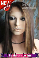 Wholesale Brand New Gorgeous quot Silky Straight Swiss Full Lace Human Hair Wigs NEW036