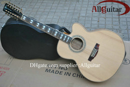 Wholesale 12 strings singlecut Acoustic natural AAA top Solid spruce with fishman pickups