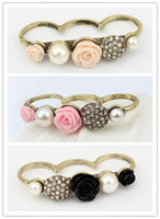 Wholesale Retro Mix Elements Finger Ring Flower Pearl Crystal Ring Retro Coppery Ring JZ056