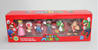 Wholesale In Box PVC Super Mario Bros Luigi donkey kong Action Figures set yoshi mario figure toys doll