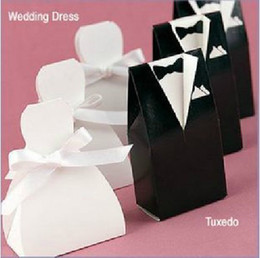 Wholesale 500pieces Tuxedo Bride and Groom Wedding Favors Paper Candy Box