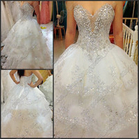 Wholesale Empire perfect exquisite white wedding dresses bridal dresses rhinestone tulle beads tiered laceness