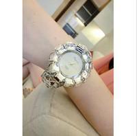 Fashion analog magazine - Korean magazines leather with diamond rhinestones decorated female flash drill full diamond watch