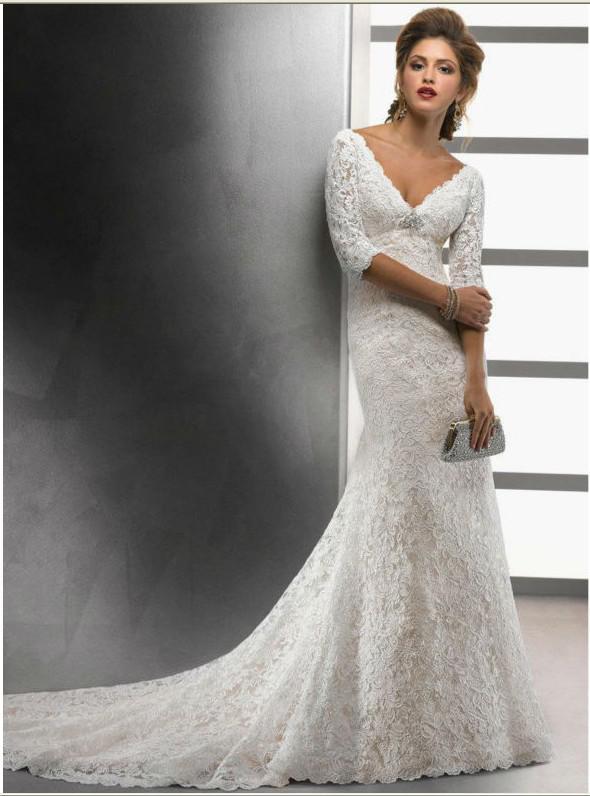 Wedding Dresses 3 4 Sleeves Lace : Lace sleeve wedding dress v neck backless dresses bridal