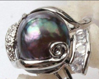 Wholesale HUGE SOUTH SEA mm black Pearl Ring size