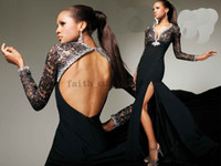 Wholesale Lace Long Sleeves Evening Gown Dress High Keyhole Beaded Trim Side Front Slit Tony Bowls TBE11331