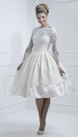 Wholesale Cheap Lace Open Back Short Wedding Dress Long Sleeve Tea Length A Line Satin