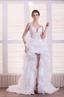 Wholesale 2013 Sexy Wedding Dresses White Spaghetti Strap Deep V Beaded Appliqued Short Front Long Back Bridal Dresses In Stock MC