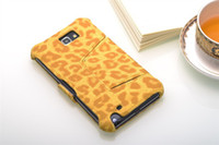 Wholesale 30pcs New Arrival Leopard Leather Case Cover With Stand For Samsung Galaxy Note N7000 i9220