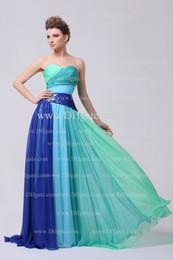 Colorful Prom Dresses 2015 Sweetheart Pleated Bodice Beaded Rhinestones Chiffon Floor Length Evening Dresses