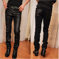 Wholesale 2013 Fashion Men s Skinny Winter Black leather Denim Jeans Size K040 free ship