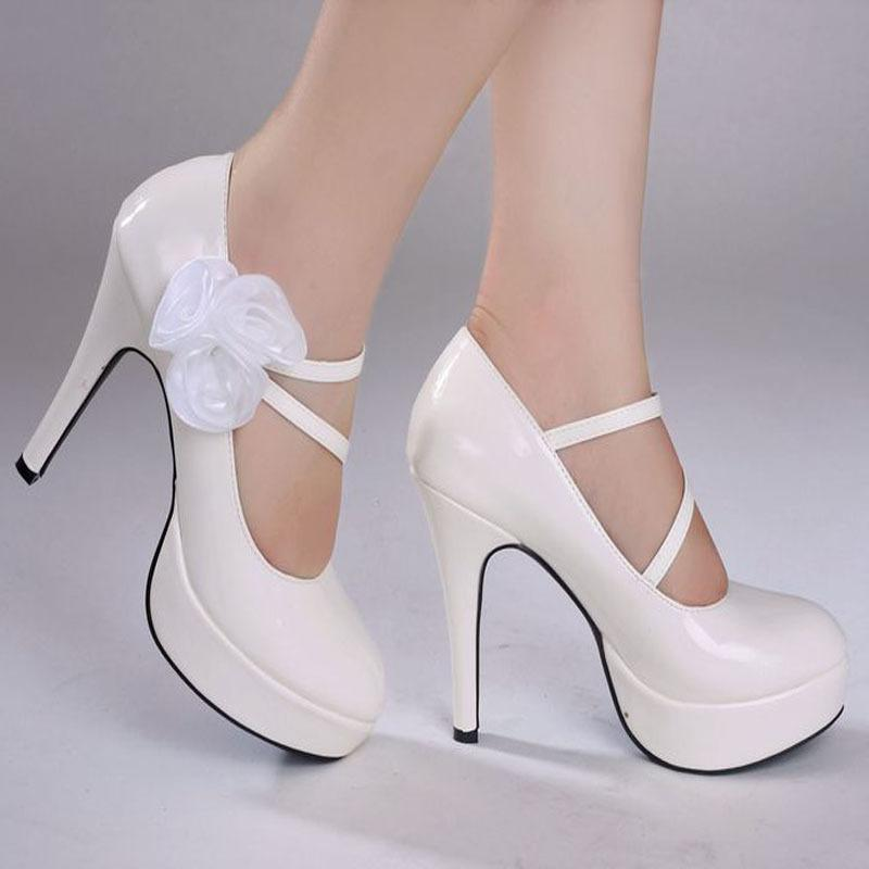 Genuine leather Pearl white crystal wedding shoes bridal shoes women pumps high heels sapatos shoes platform
