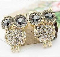 Wholesale 24pairs dropshipping hot sale Owl Earring diamond earring Fashion Jewelry ladies Earring kngfuboy
