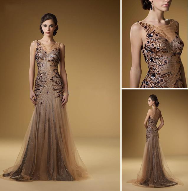 2013 Sexy Mother Of Bride Dresses Chocolate Tulle Sleeveless ...