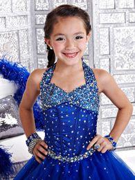 Wholesale 2016 banquete de boda nuevo azul niña vestido de flores Pequeña novia vestido del desfile de los vestidos vestidos del desfile por encargo