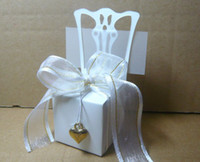 Wholesale Miniature white chair Wedding candy box with gold accessories For Cupcake box Bombonieres