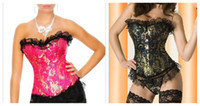 Wholesale Plus Size Sexy Lingerie Two colors Mix Elegant Corset Basque and Thong S M L XL X X X X X