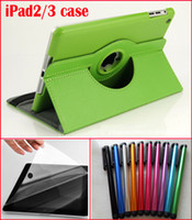3 in 1 For 100pcs 360 Rotating iPad2 3 PU Leather Case+ 100pc...