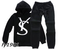 Wholesale Brand New Fashion Mens Cotton Sport Hoodies Sets Long Sleeve Mens Tracksuits Hoodies Pants Black