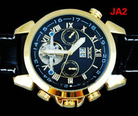 Wholesale jaragar Gold Black Men Leather AUTO Mechanical Tourbillion Dive Date Mens Brand Original Watch Sport