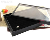 Wholesale 2 Box Slots Jewelry Rings Paper Display Holder Organizer Showcase Tray Box Case