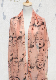 Estilo All-jogo Marilyn Monroe Vintage Ladies Scarf chiffon cachecol xale mix 5 6pcs cor