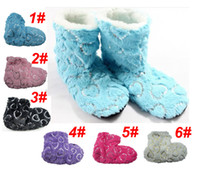 Wholesale 6pairs Fashion Winter Boots Indoor Slippers with Heart Sequins Plush