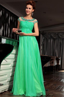 Wholesale Nice New Noble Ruffle Beads Light Green Chiffon Sheath Prom Dress Evening Dresses Wedding Gown RL965