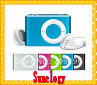 Wholesale 16pcs mp3 usb earphone Mini Matel MP3 Player Clip color support Micro SD can up to GB Free s