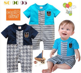 Wholesale Summer infant tights boy Rompers insignia stripe baby Clothing Short sleeve colour One Piece