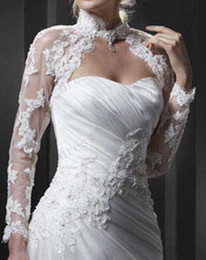Wholesale 2013 ENZOANI White Wedding Dress Jacket Long Sleeva Bridal Jacket Bridal Accessories Lace High Neck