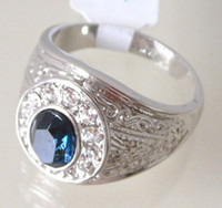 Wholesale Sapphire amp White Topaz k GP White Gold Ring Can Mix
