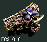 Wholesale Fashion Women s elegant butterfly rhinestone Zinc alloy hair clips hair ornaments hair claws mixed c