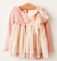 TuTu Winter Pleated Shirt Dress Children Cute Woolen Yarn Dresses Girls Pink Bowknot Tops Tutu Skirt Lace Princess Dress