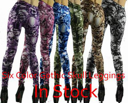 Wholesale 6 Colors women novelty skull print punk leggings for women gray red blue purple kakhi pants FG0108