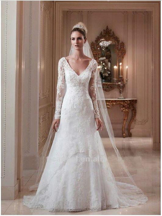 Long Sleeve Wedding Dresses With Open Back