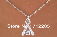 Wholesale fashion Silver softball and bats pendant necklace sports jewelry