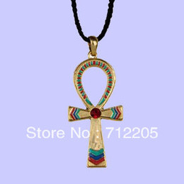 free shipping fast selling gold Egyptian Ankh cross leather cord necklace