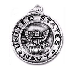 Free shipping alloy antisilver eagle with navy jewelry pendant charms