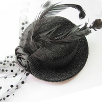 Wholesale Hot selling bling black rose feather mini top hat with beautiful net Fascinator base Women Millinery