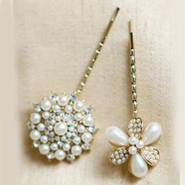 2016 pinces à cheveux ronds 5pcs / lot Clips Livraison gratuite Cristal Mode Perle Fleur Cheveux pour les filles de forme ronde Diamant Perle H pinces à cheveux ronds sortie