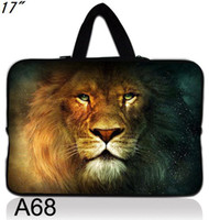 """17'' or more Briefcase Neoprene 17""""-17.1"""" laptop Colorful Soft case handle Bag Pouch Cover-Lion King printed on both sides-A68h"""