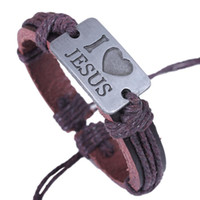 Wholesale Hot Sale Leather Bracelets I Love JESUS Engraved Leather Bracelet