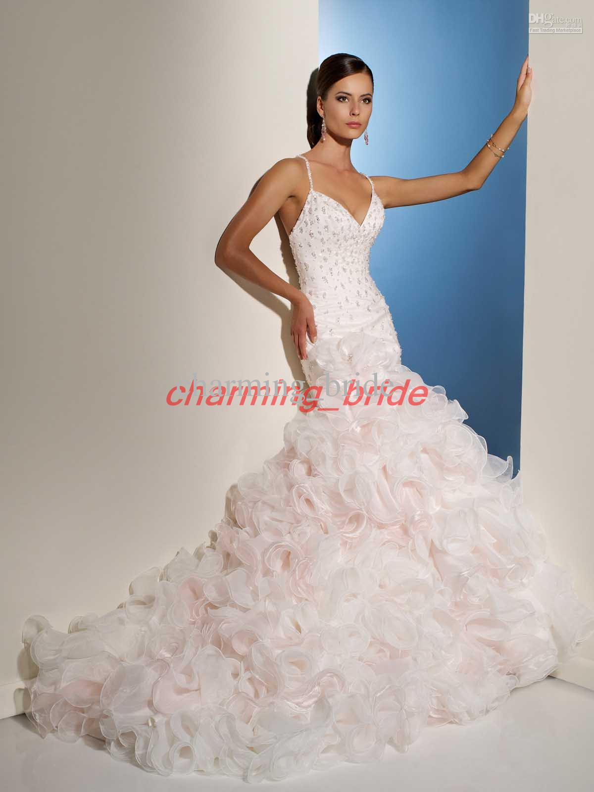 Peach Sexy Mermaid Spaghetti Sweetheart V Neck Wedding Bridal ...
