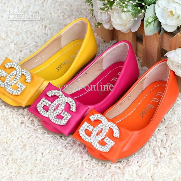 2013 G.G Bear Girls Princess Shoes Kids Flats Yellow/Orange ...
