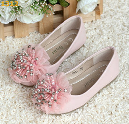 Wholesale 2013 G G Bear Girls Princess Shoes Lace Kids Flats with Diamonds Pink Color Sizes mix order