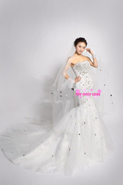 Wholesale 2013 New Luxury Crystals Mermaid Wedding Dresses Sweetheart Rhinestone Cathedral Train Bridal Gowns