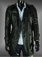 Wholesale New Black Fashion Men s Slim fit Artiicial Leather Trench Coat Casual Stylish Outwear Free Ship