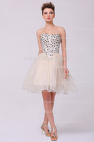 Wholesale 2012 Hot Dhgate Sexy Sweetheart Cheap Organza Ruffles Beading Champagne Mini Cocktail Dresses DH4091